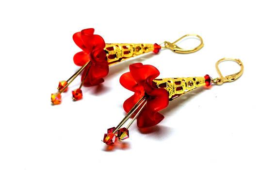 Red Lucite Flower Lever Back Earrings