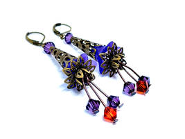 Dark Purple Lucite Flower Lever Back Earrings