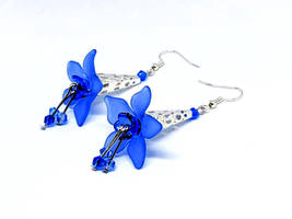 Royal Blue Lucite Flower Earrings