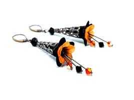 Black and Orange Lucite Flower Earrings
