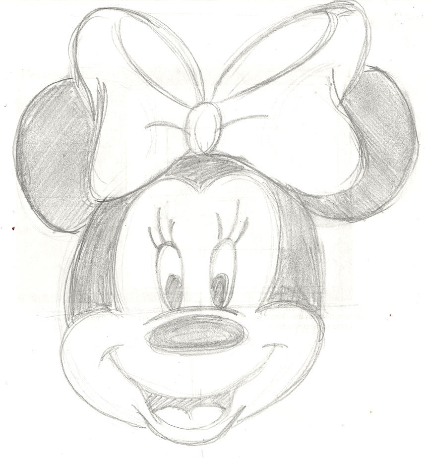 how to draw minnie mouse step by step face