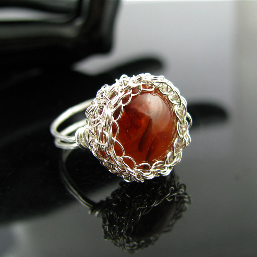 Fine silver wire crochet ring with faux amber cab by CatsWire on ...