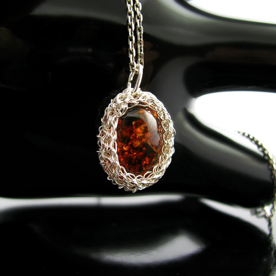 Silver wire crochet pendant with faux amber #1 by CatsWire