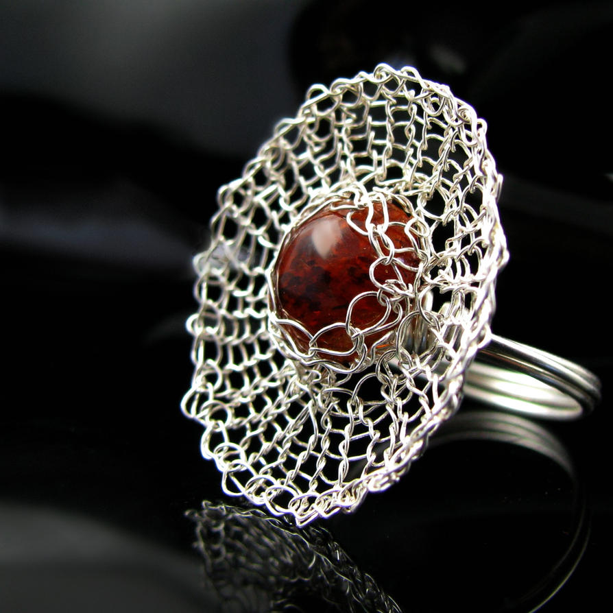 Fine silver wire knit spider web ring by CatsWire on DeviantArt