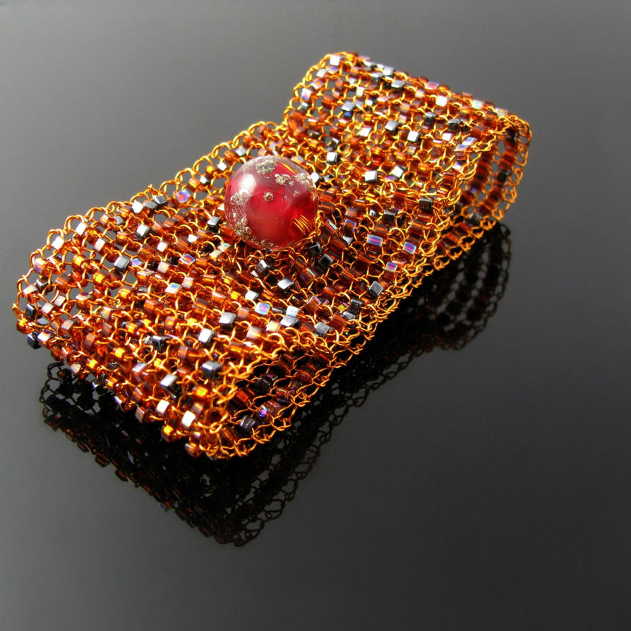 Knitting With Wire And Beads : Wire knit cuff with glass cubes and lampwork bead by