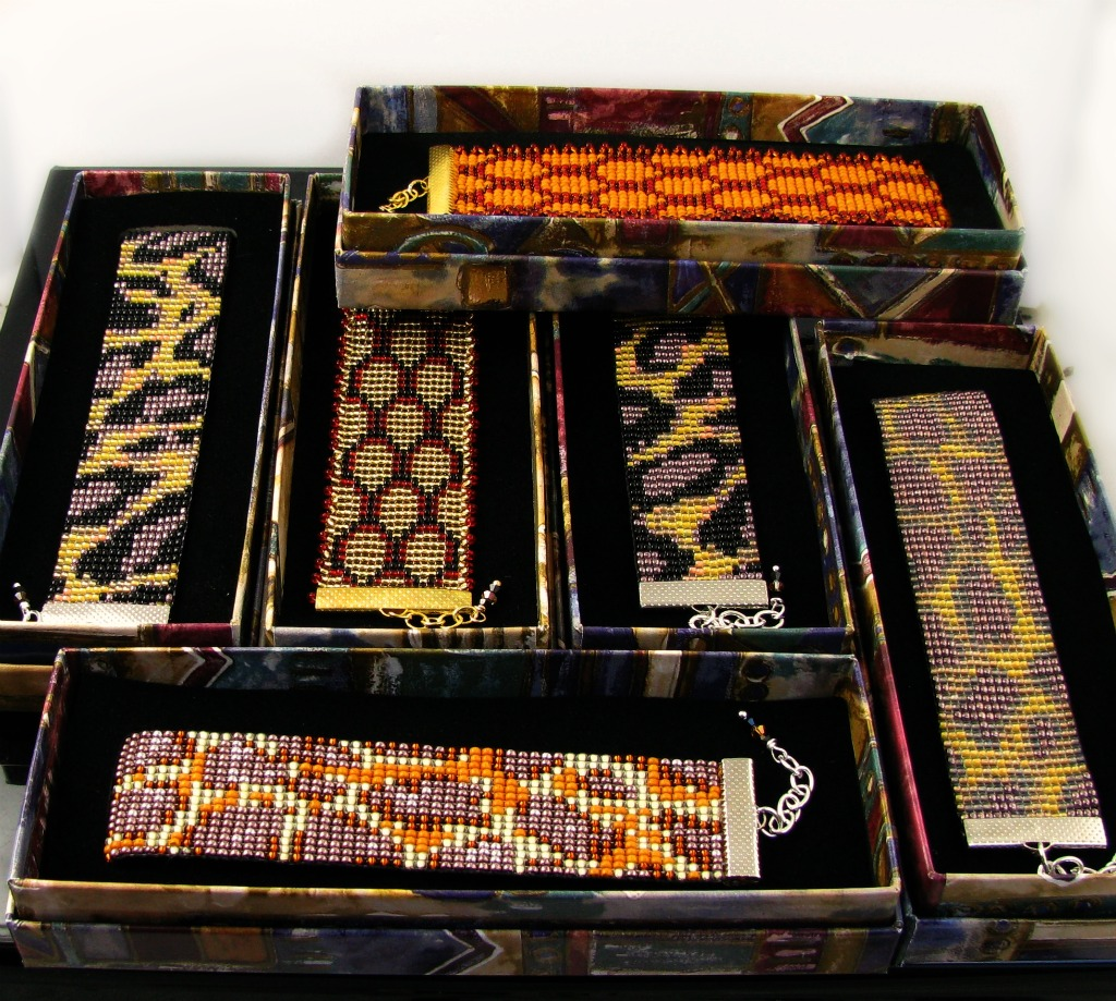 Bead loomed animal print cuffs by CatsWire