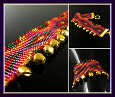 Bollywood Dream bead loomed cuff by CatsWire