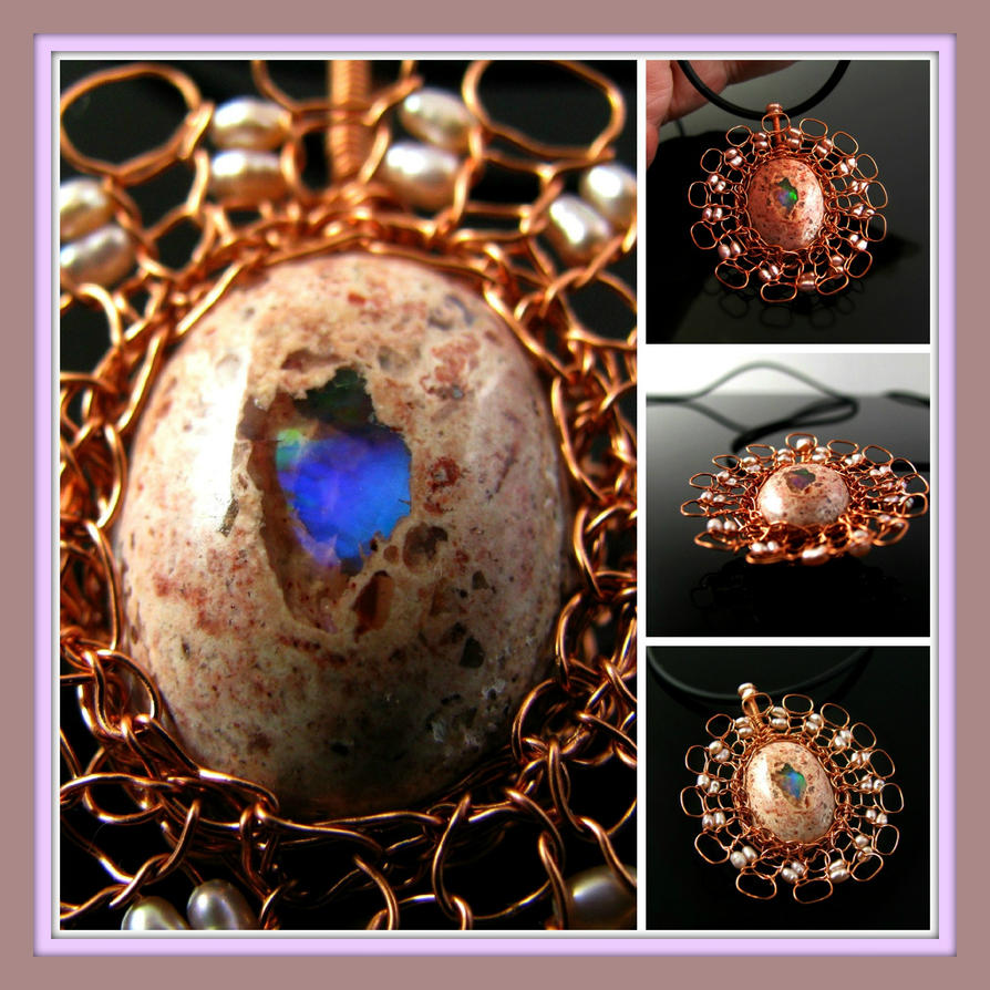 Wire knit Cantera opal pendant with pearls by CatsWire