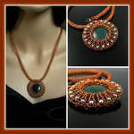 Wire knit necklace with aventurine and pearls