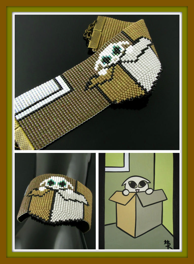 Tinycat in a box cuff - A HeatherCat by CatsWire