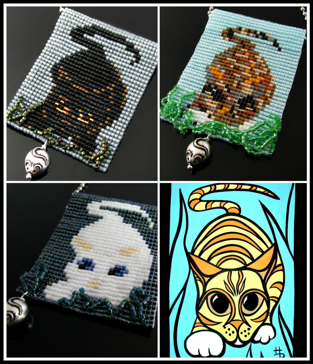 Bead loomed Lurking Cat pendants - HeatherCats by CatsWire