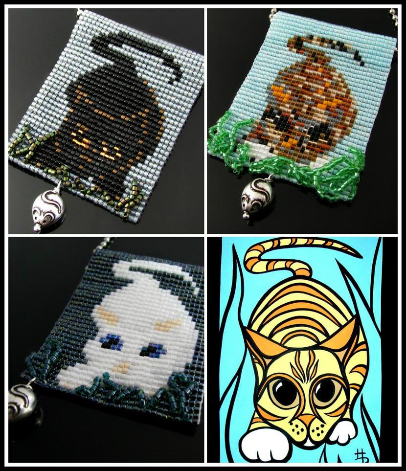 Bead loomed Lurking Cat pendants - HeatherCats by CatsWire