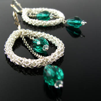 Silver wire crochet earrings with crystals by CatsWire