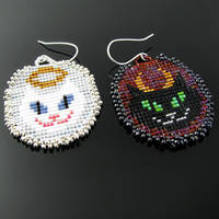 Bead loomed Angel and Devil Cat earrings by CatsWire