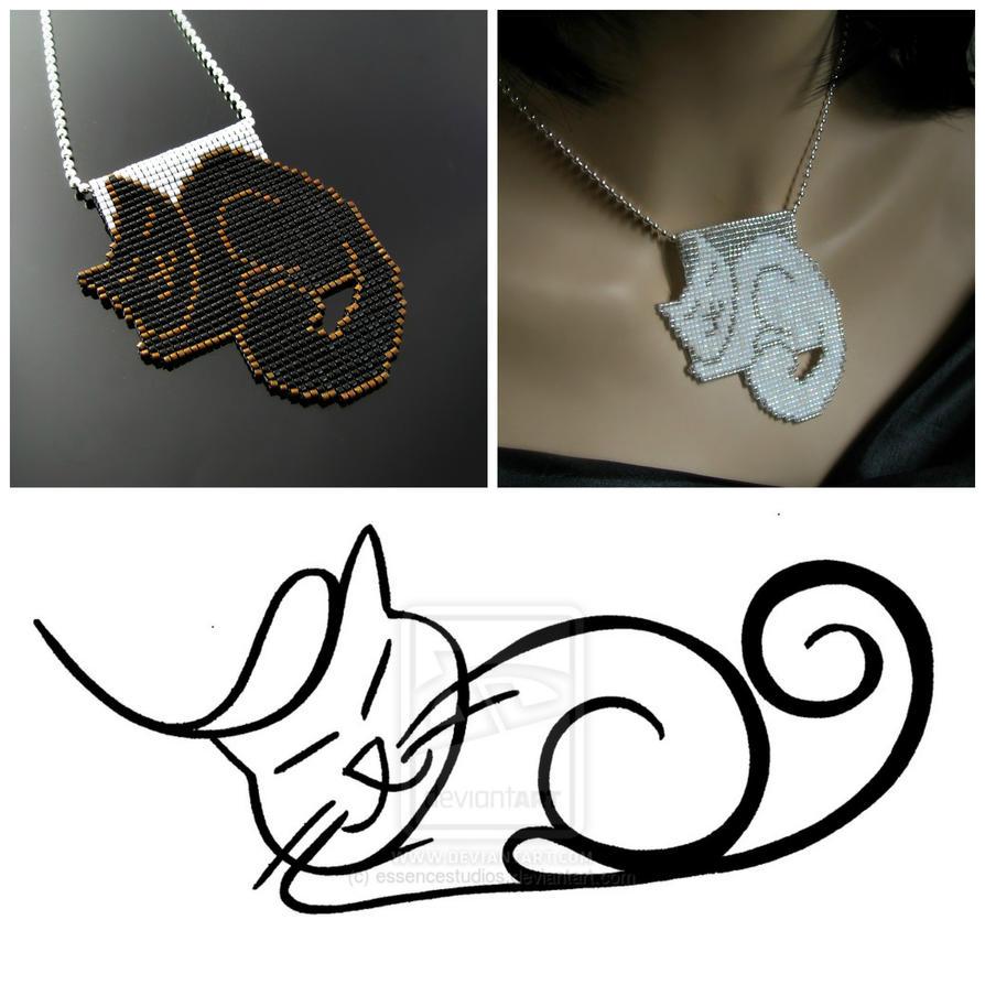 Bead loomed Petcat pendants - HeatherCats by CatsWire