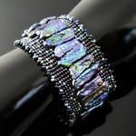 Bead loomed bracelet with Biwa pearls