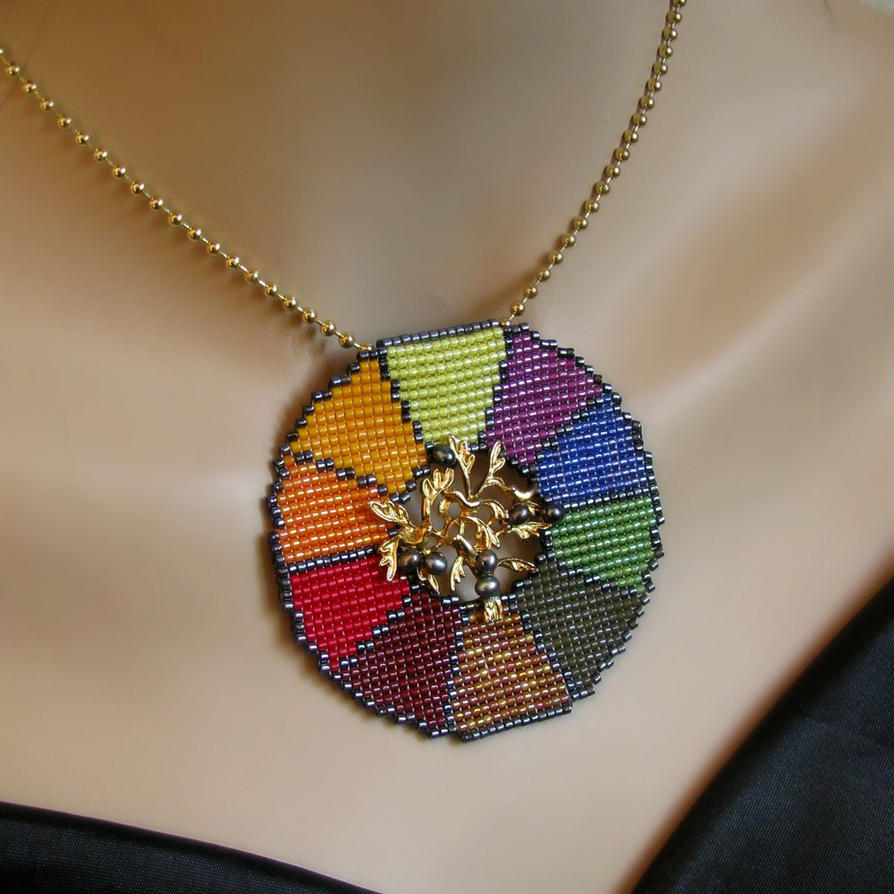 Bead loomed color wheel pendant by CatsWire