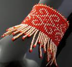 Bead loomed bracelet with fringe