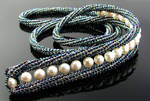 Wire knit necklace with pearls