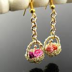 Yarn basket earrings by CatsWire