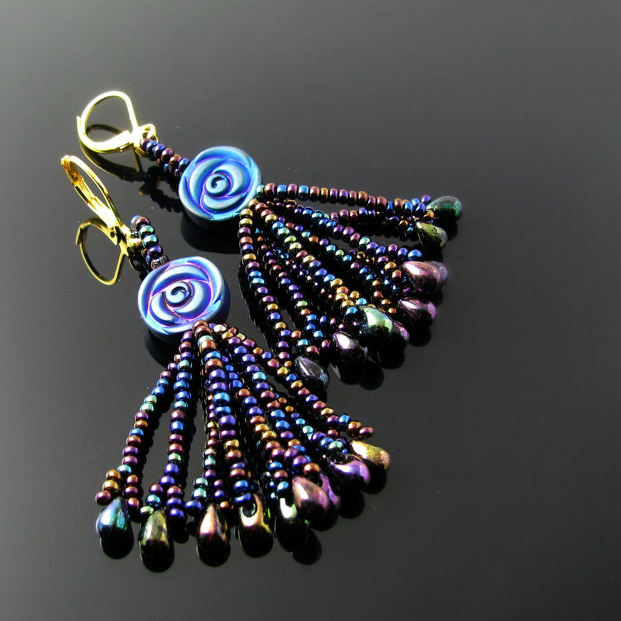 Beaded rose and tassel earrings by CatsWire