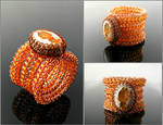 Wire knit ring with Cantera opal and carnelian