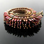 Metallic dagger bead loomed choker