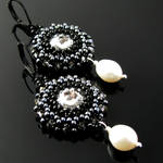 Beaded earrings with crystals and pearls by CatsWire
