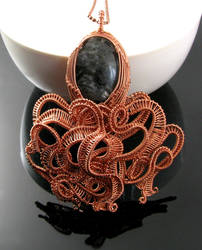 Octopus pendant with larvikite