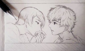 Persona 5 - Yusuke x Akira (Sketch) by HinataShion