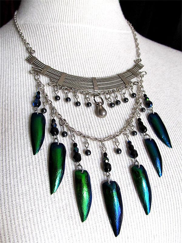 Green jewel beetle necklace