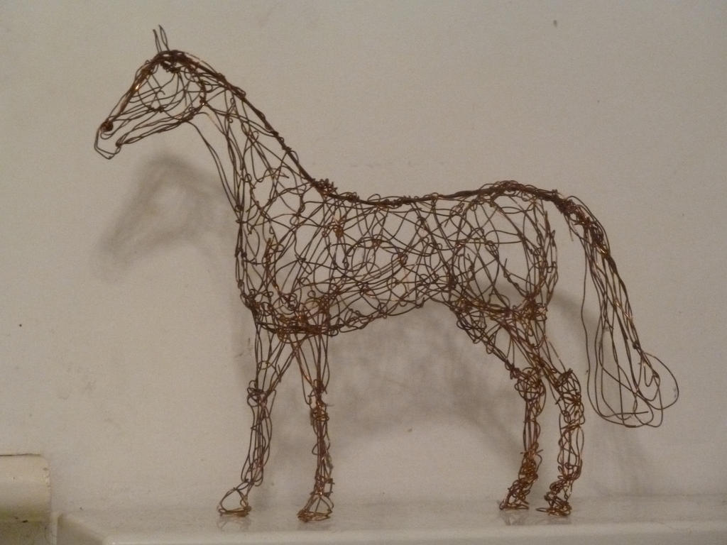Copper wire sculpture of a standing horse by choccy-uk on DeviantArt