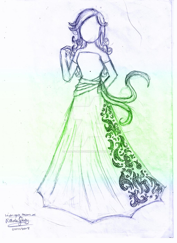 Midnight Prom: dress sketch by CrazyCapricorn on DeviantArt