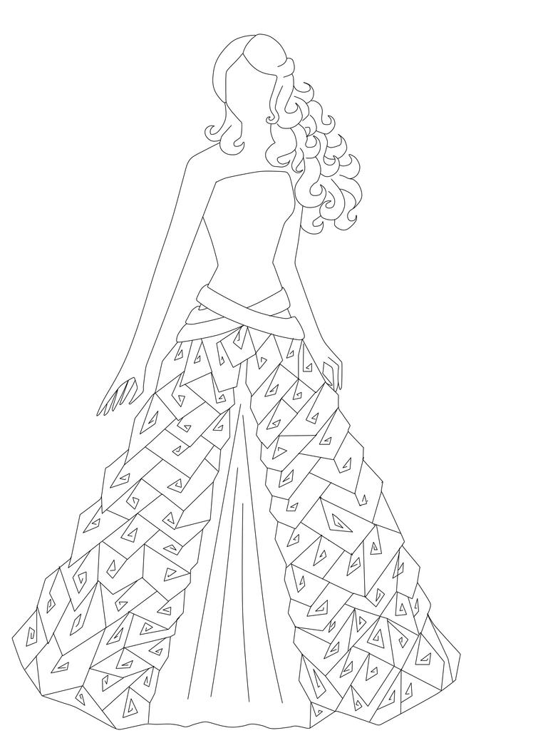 Line Drawing Dress : Roses ribbons and pearls dress line art by