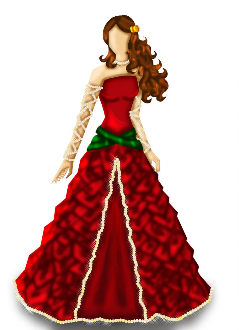 Roses Ribbons And Pearls Dress Fashion Design By