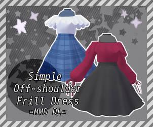Simple Off-Shoulder Frill Dress || MMD DL by meovvsotis