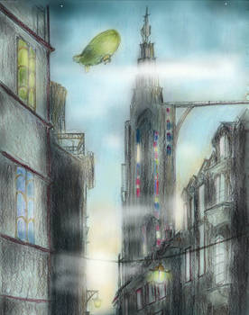 Steampunk city sunrise by InKibus