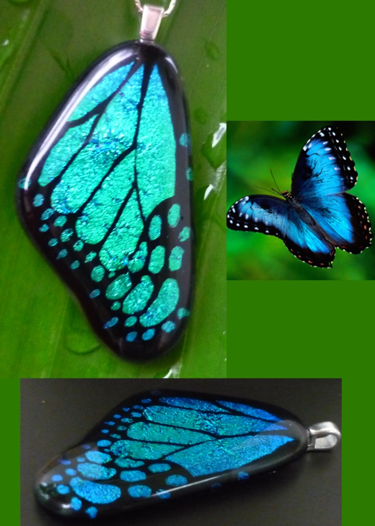 Fused glass butterfly wings from a new user img heavy for Butterfly stained glass craft
