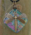Blue Glass and Brass Dragonfly