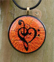 Bright Copper Music Love Glass by FusedElegance