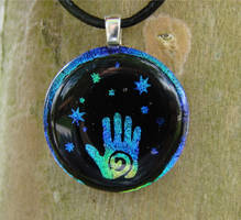 Hamsa Hand Fused Glass Pendant by FusedElegance