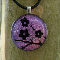 Pink Purple Blossom Glass by FusedElegance