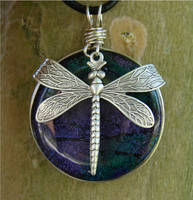Dragonfly Over Purple Glass by FusedElegance