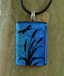 Dragonfly and Cattails Glass