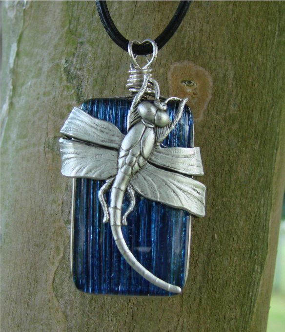 Silver Dragonfly Over Glass by FusedElegance