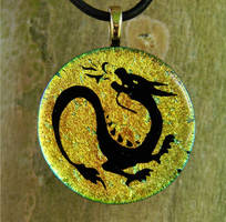 Asian Fire Dragon Glass by FusedElegance
