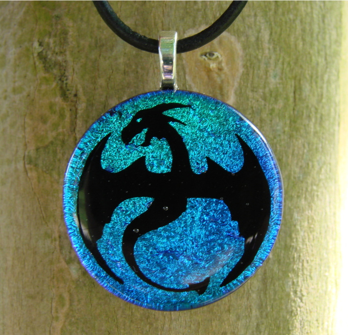 Ice Dragon Flight Fused Glass by FusedElegance