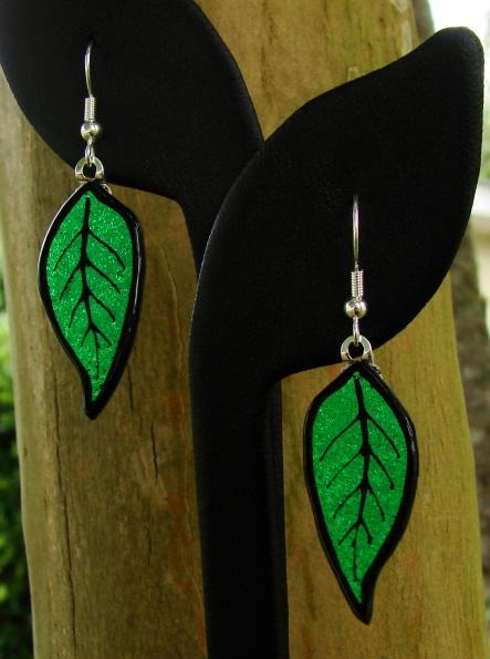 Fused Glass Leaf Earrings by FusedElegance