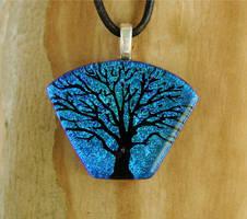Fan Tree Fused Glass Pendant by FusedElegance