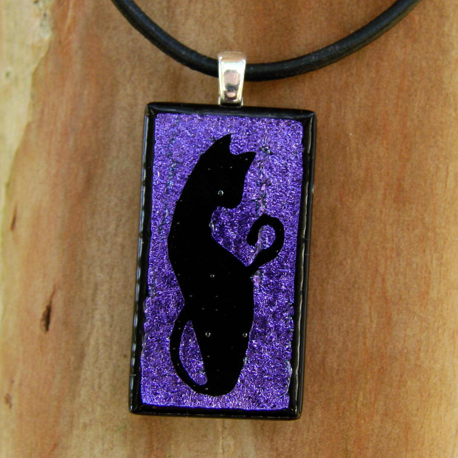 Purple Fused Glass Cat Pendant by FusedElegance